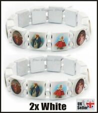 2X WHITE Wooden Elasticated Saints Bracelet Jesus Wristband Religious Saints