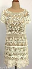 VINTAGE CREAM full CROCHETED crochet sheer scoop back long top MINI DRESS 10 12