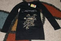 Ed Hardy Woman L/S Rhinestone Skull Tee shirt Drate Sizes S to XL