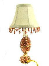 Amber Golden Egg Shaped With Golden Flowers Enameled Nightlight Table Lamp