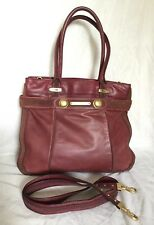 Large JUICY COUTURE Burgundy Leather Tote/Cross Body/Shoulder Bag / Handbag