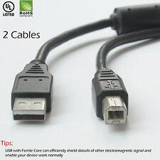 For HP,Canon,Lexmark,Epson,Dell- USB 2.0 AM-BM Printer Cable w/Ferrite Core-2pcs