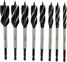 8Pcs Four Slot Drill Bits Auger Drill But Set Hex Shank for Woodworking 10-25mm
