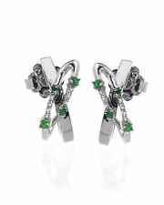 Bliss By Damiani 18k White Gold Diamond 0.04ct And Emerald Earrings 20044121