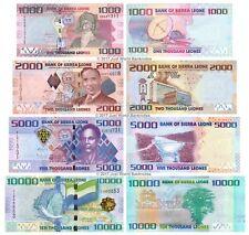 Sierra Leone 1000 + 2000 + 5000 + 10000 Leones 2010 Set of 4 Banknotes 4 PCS UNC