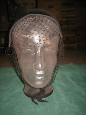 VINTAGE WOMEN'S BLACK VELOUR LUISANT  IMPORTED FUR HAT W/ NETTING BY BETMAR ADJ.