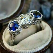 3 Ct Antique Round Cut White & Sapphire Diamond Wedding Ring 14K White Gold Over