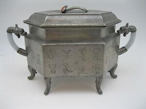 RARE Old Kut Hing Chinese Pewter 3 Part Food Warmer w Jadeite & Carnelian