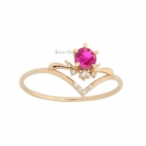 14K Gold Genuine Diamond And Pink Tourmaline Chevron Delicate Ring Fine Jewelry