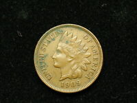 MUST GO SALE!!   AU 1909 INDIAN HEAD CENT PENNY w/ FULL LIBERTY & DIAMONDS #127v