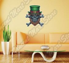 "Irish Leprechaun Skull St. Patrick's Wall Sticker Room Interior Decor 20""X25"""