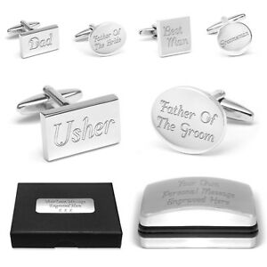 Personalised Wedding Favour Cuff Links & Engraved Gift Box Best Man Usher Groom