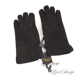 NWT #1 MENS $198 Polo Ralph Lauren Black Suede Shearling Cuff Winter Gloves M NR