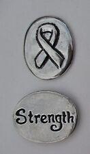 E Strength survivor ribbon spirit HANDCRAFTED PEWTER POCKET TOKEN CHARM basic