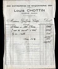 """LANGE (36) Ets. de MACONNERIE """"Louis CHOTTIN"""" en 1951"""