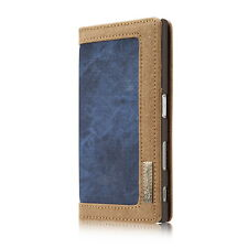 Sony Xperia Xz1 Compact Bag Cover Case Jeans Faux Leather Blue