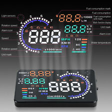 5.5'' OBDII Car Head Up Speed Display HUD GPS RPM Water Temp Fuel Consumption A8
