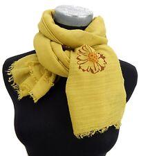 Women's Scarf Yellow Curry Ella Jonte Blossoms Lightweight Ware Flowers Viscose