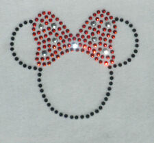 "2.5"" black/RED Minnie Mouse iron on Disney rhinestone transfer applique patch"