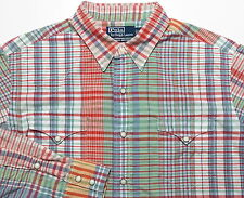 POLO RALPH LAUREN RL MENS LARGE WESTERN COWBOY SHIRT BLUE GREEN RED CHECK PEARL