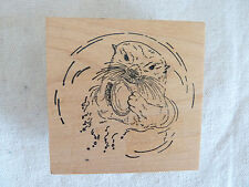 "Stampa Rosa  Rubber Stamp   Otter w/ a Clam  Earlene Chinnock   2 3/4""  Sq  1999"
