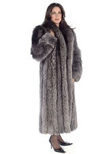Genuine Silver Fox Fur Coat Women Plus Size Full Length Long - Shawl Collar
