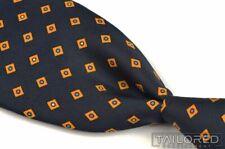 "TURNBULL & ASSER Blue Orange Square Polka Dot 100% Silk Mens Luxury Tie - 3.75"""