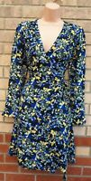 MARKS SPENCER BLACK BLUE YELLOW FLORAL LONG SLEEVE WRAP A LINE BELTED DRESS 6