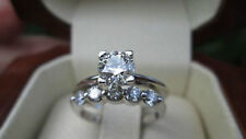 2 Ct Round Cut Diamond Solitaire Solid 14K White Gold Engagement Bridal Set Ring