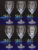 Personalised SUGAR SKULL engraved Wine glass for Birthday, Christmas gift#143