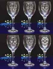 Personalised SUGAR SKULL engraved Wine glass for Birthday, Christmas gift#143