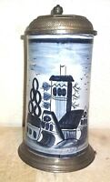 Fayence Style Church Pewter lidded Masskrug German Beer Stein