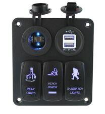 3 Gang Interruptor Panel Con LED Azul para Barco Marina Caravana RV DC12V/24V