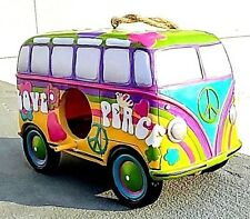 Peace and Love Vw bus Birdhouse with Peace symbol and flowers. A Great Gift!