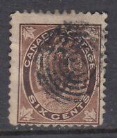 "Canada Scott #71  6 cent brown  ""QV Maple Leaf""    F  **"