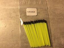 25 antennes creuses jaune diam:1,5 /0,8mm pour flotteurs de pêche longueur :50mm