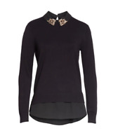 NEW Ted Baker Moliiee Embroidered Collar Sweater in Black - size 4 US L #S2508