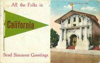 DB Postcard CA K219 Mission Dolores ca1910s California Greetings Street View
