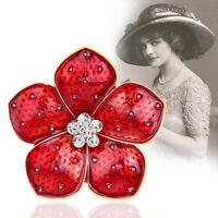 Women Crystal Poppy Badges Lapel Pin Brooch Enamel Flower Red Badge 2019