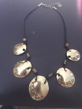 Ikita Black Cord Necklace With Gold Tone Oval Etched And Beaded Pendants