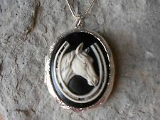 HORSE AND HORSESHOE CAMEO (HAND PAINTED) LOCKET - .925 silver plated - LUCKY