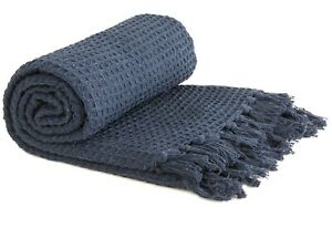 100% Cotton Waffle Honeycomb Throw Tassel Bed Chair Sofa Blanket Bedspread Navy