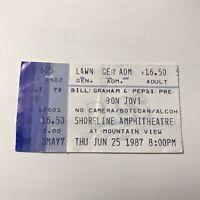 Bon Jovi Shoreline Amphitheatre Mountain View Concert Ticket Stub Vtg June 1987