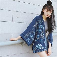 Japanese Kimono Yukata Women Phenix Floral Cardigan Bat Sleeved Loose Coat New