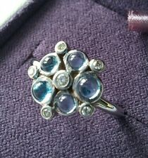 9ct White Gold, Blue Topaz & Diamond Pimlico Bubble Ring by London Road