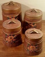Vintage Set of 4 Atlantic Molds Hand Painted Ceramic Kitchen Canisters Set