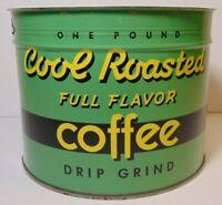 Vintage 1950s COOL ROASTED COFFEE KEYWIND COFFEE TIN ONE POUND CEDAR RAPIDS IOWA