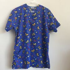 Fundamentals by White Swan Scrubs V Neck Top Size M  With Butterflies  JJ19