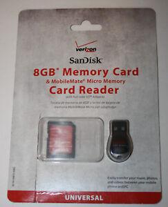 NEW Verizon SanDisk 8GB Memory Card & MobileMate Micro Memory Card Reader
