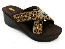 VOLATILE Womens Brown Pony Hair Leather Embellished Wedge Slide Sandals - Size 8